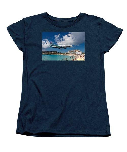 U S Airways Landing At St. Maarten Women's T-Shirt (Standard Cut) by David Gleeson