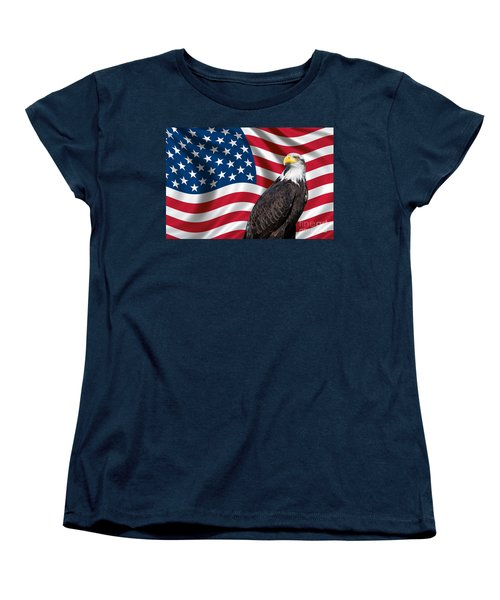 Women's T-Shirt (Standard Cut) featuring the photograph Usa Flag And Bald Eagle by Carsten Reisinger