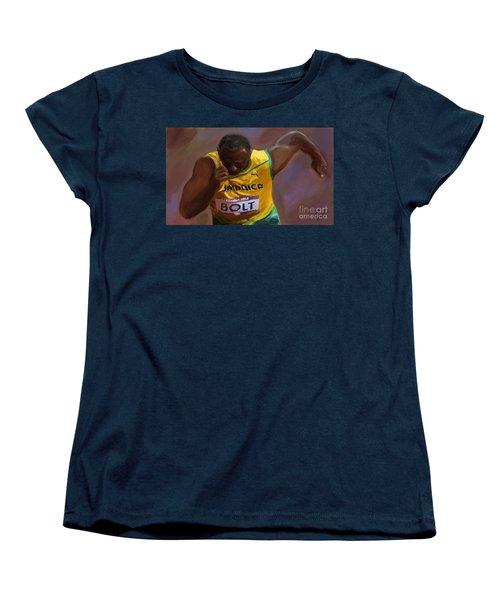 Women's T-Shirt (Standard Cut) featuring the painting Usain Bolt 2012 Olympics by Vannetta Ferguson