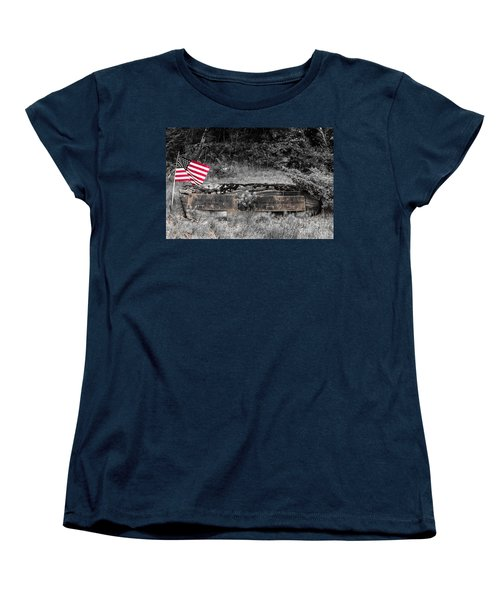 Women's T-Shirt (Standard Cut) featuring the photograph Usmc Veteran Headstone by Sherman Perry