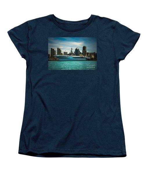 Uss Midway Museum Cv 41 Aircraft Carrier Women's T-Shirt (Standard Cut) by Claudia Ellis