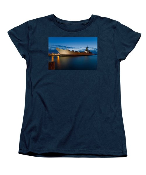 Uss Wisconsin At Sunset Women's T-Shirt (Standard Cut) by Jerry Gammon