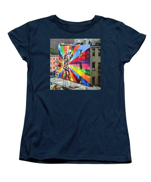 V - J Day Mural By Eduardo Kobra Women's T-Shirt (Standard Cut) by Allen Beatty