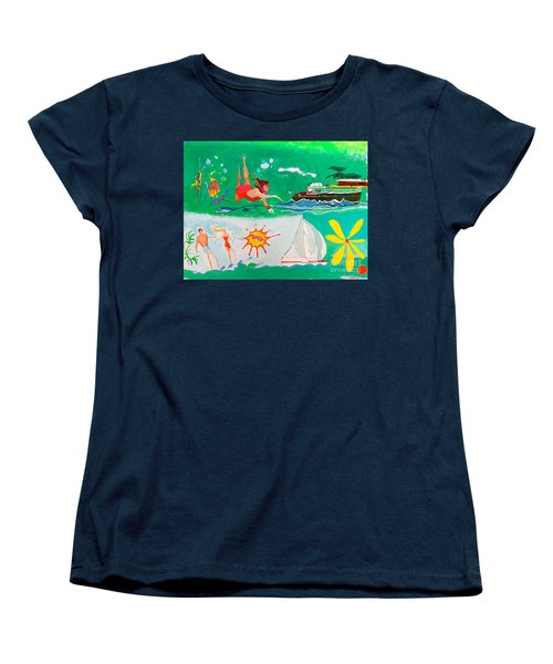 Women's T-Shirt (Standard Cut) featuring the painting Vacation All I Ever Wanted by Beth Saffer
