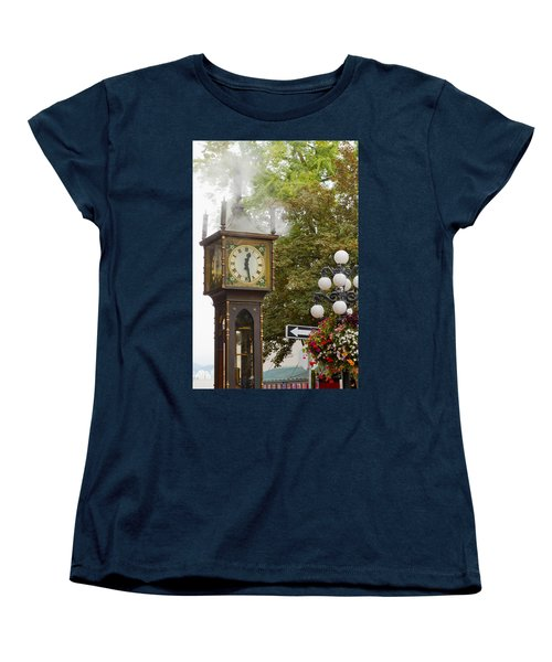 Women's T-Shirt (Standard Cut) featuring the photograph Vancouver Bc Historic Gastown Steam Clock by JPLDesigns