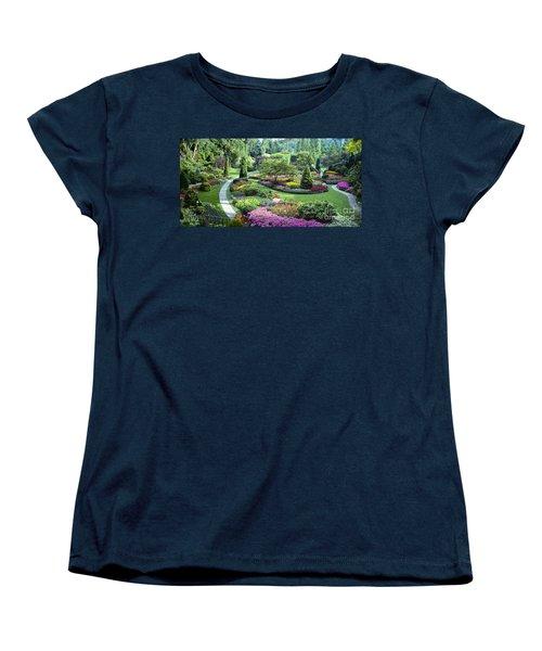 Vancouver Butchart Sunken Gardens Beautiful Flowers No People Panorama Women's T-Shirt (Standard Cut) by David Zanzinger