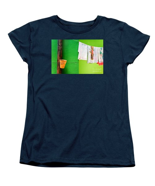 Women's T-Shirt (Standard Cut) featuring the photograph Vase Towels And Green Wall by Silvia Ganora