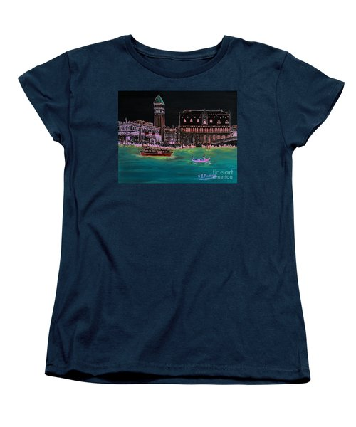 Venice At Night Women's T-Shirt (Standard Cut) by Loredana Messina