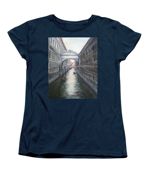 Venice Bridge Of Sighs - Original Oil Painting Women's T-Shirt (Standard Cut) by Quin Sweetman