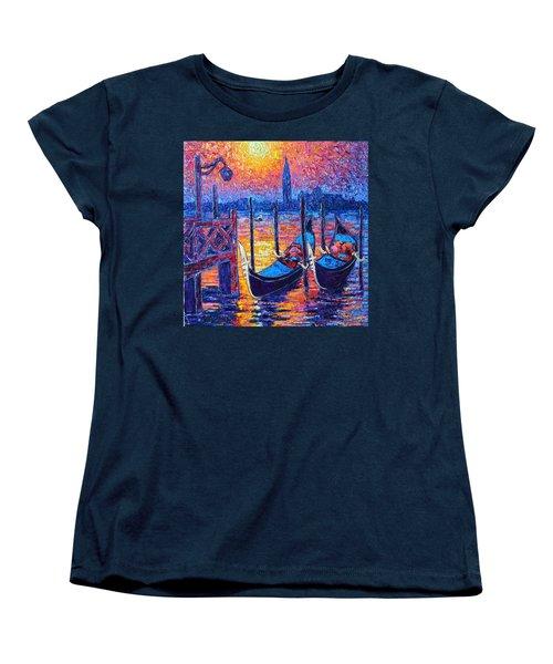Venice Mysterious Light - Gondolas And San Giorgio Maggiore Seen From Plaza San Marco Women's T-Shirt (Standard Cut) by Ana Maria Edulescu