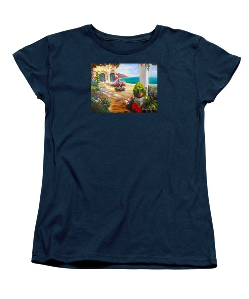 Women's T-Shirt (Standard Cut) featuring the painting Venice Villa by Jenny Lee
