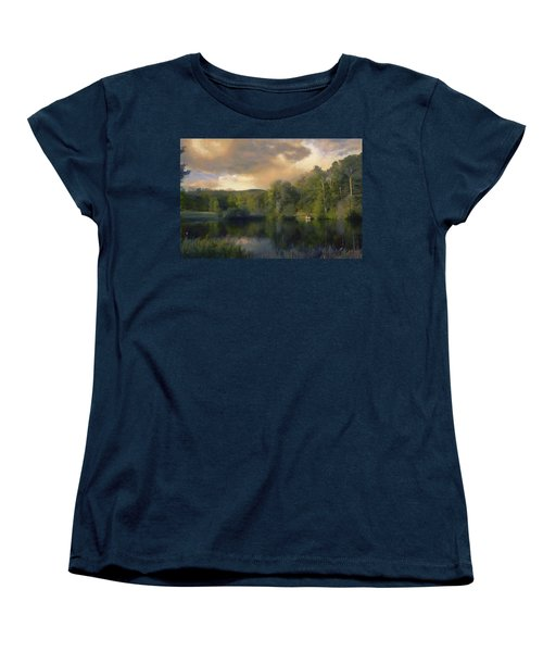 Women's T-Shirt (Standard Cut) featuring the painting Vermont Morning Reflection by Jeff Kolker