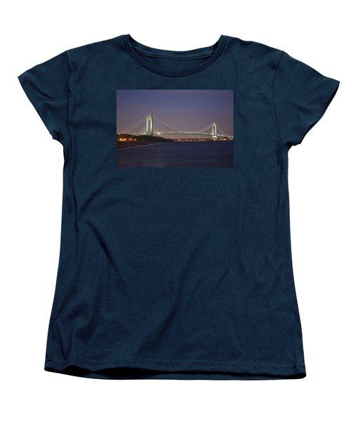Verrazano Narrows Bridge At Night Women's T-Shirt (Standard Cut) by Kenneth Cole