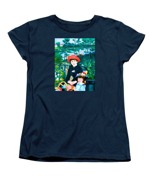 Version Of Renoir's Two Sisters On The Terrace Women's T-Shirt (Standard Cut) by Lorna Maza
