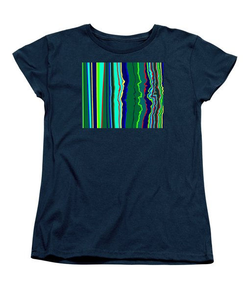 Women's T-Shirt (Standard Cut) featuring the painting Vibrato Stripes  C2014  by Paul Ashby