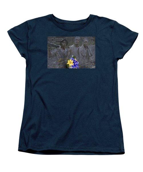 Vietnam Veteran Wall And Three Soldiers Memorial Collage Washington Dc_2 Women's T-Shirt (Standard Cut) by David Zanzinger