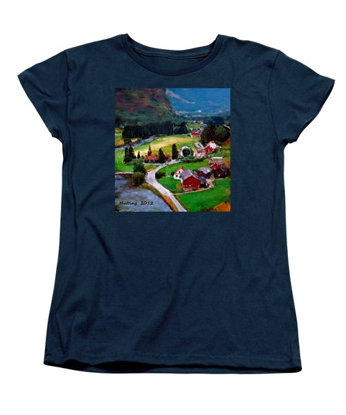 Women's T-Shirt (Standard Cut) featuring the painting Village In The Mountains by Bruce Nutting