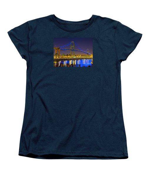 Women's T-Shirt (Standard Cut) featuring the photograph Vincent Thomas Bridge - Nightside by Jim Carrell