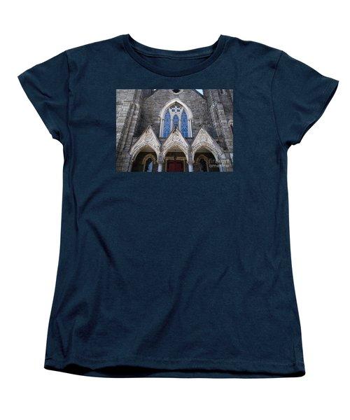 Women's T-Shirt (Standard Cut) featuring the digital art Vintage Block Church Circa 1901 by Melissa Messick