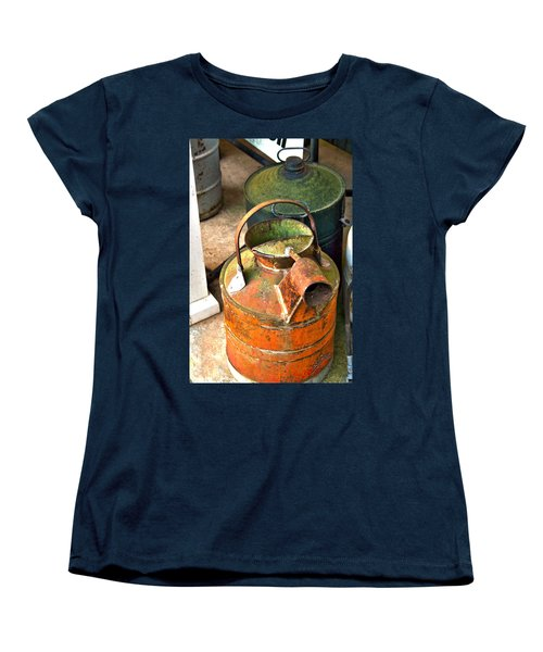 Women's T-Shirt (Standard Cut) featuring the photograph Vintage Orange And Green Galvanized Containers by Lesa Fine