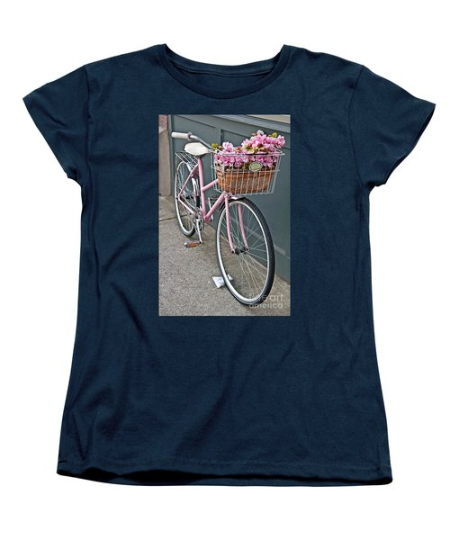 Vintage Pink Bicycle With Pink Flowers Art Prints Women's T-Shirt (Standard Cut) by Valerie Garner