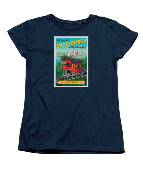 Vintage Style Pittsburgh Incline Travel Poster Women's T-Shirt (Standard Cut) by Jim Zahniser