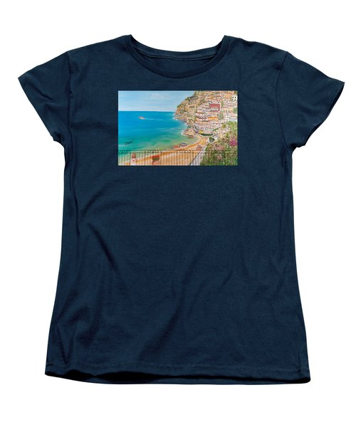 Women's T-Shirt (Standard Cut) featuring the painting Vista Su Positano by Loredana Messina