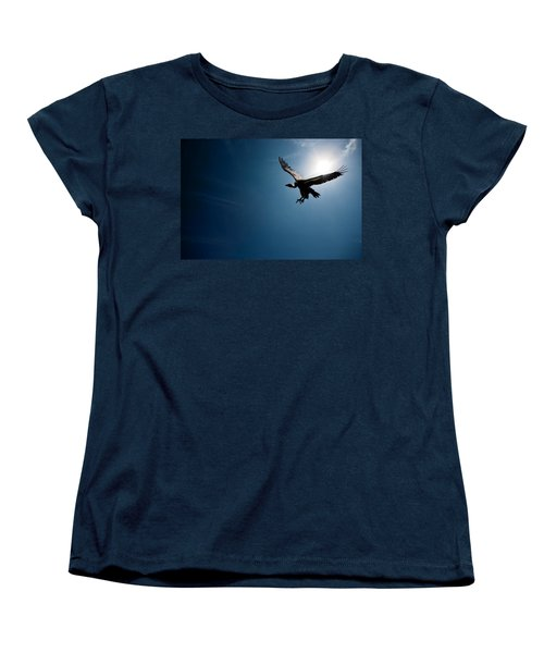 Vulture Flying In Front Of The Sun Women's T-Shirt (Standard Cut) by Johan Swanepoel