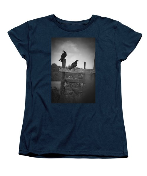 Women's T-Shirt (Standard Cut) featuring the photograph Vultures On Fence by Bradley R Youngberg