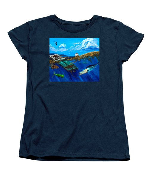 Wahoo Under Board Women's T-Shirt (Standard Cut) by Steve Ozment