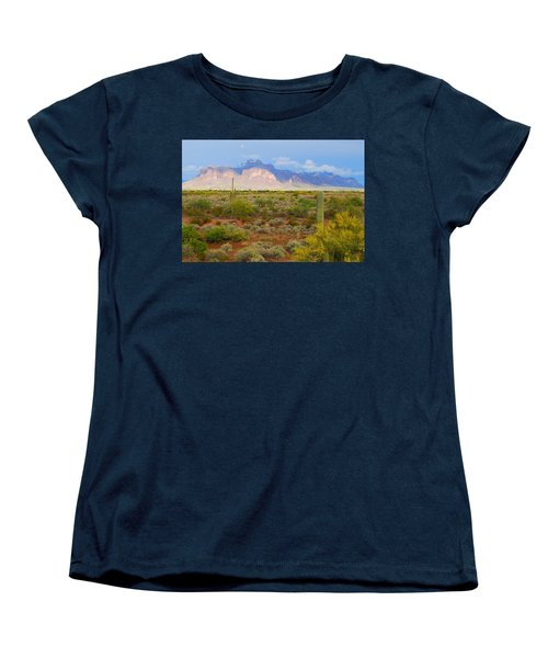 Women's T-Shirt (Standard Cut) featuring the photograph 16x20 Canvas - Superstition Mountain Light by Tam Ryan