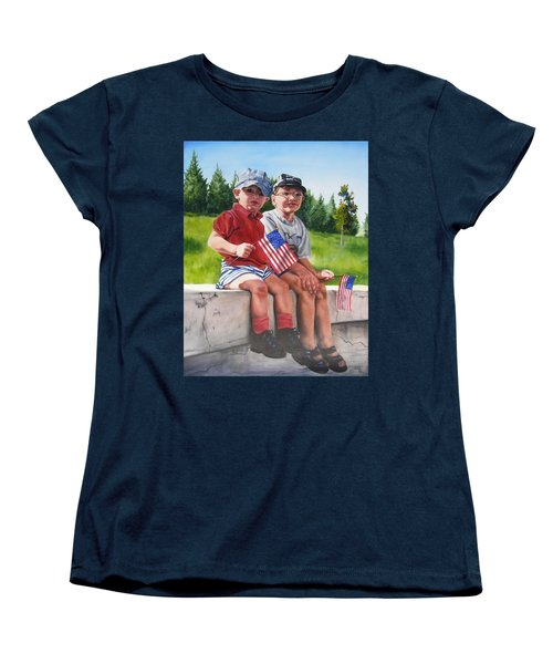 Women's T-Shirt (Standard Cut) featuring the painting Waiting For The Parade by Lori Brackett