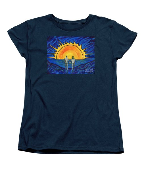 Women's T-Shirt (Standard Cut) featuring the painting Waiting For The Sun by Roz Abellera Art