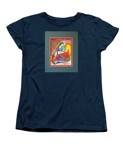Women's T-Shirt (Standard Cut) featuring the painting Waiting  by Harsh Malik