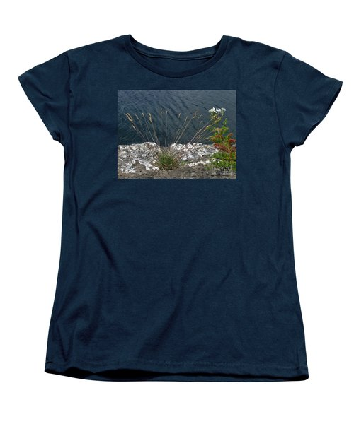 Women's T-Shirt (Standard Cut) featuring the photograph Flowers In Rock by Brenda Brown
