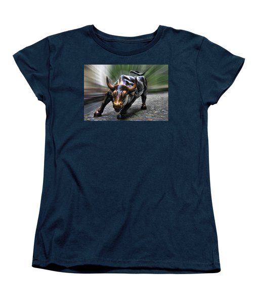 Wall Street Bull Women's T-Shirt (Standard Cut) by Wes and Dotty Weber