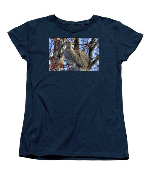 Women's T-Shirt (Standard Cut) featuring the photograph War Eagles - 28th Massachusetts Volunteer Infantry Rose Woods Near The Wheatfield Winter Gettysburg by Michael Mazaika