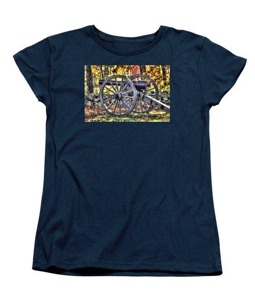 Women's T-Shirt (Standard Cut) featuring the photograph War Thunder - The Albemarle Va Artillery Wyatt's Battery-b2 West Confederate Ave Gettysburg by Michael Mazaika