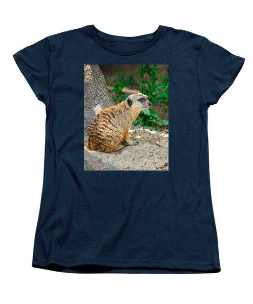 Watchful Meerkat Vertical Women's T-Shirt (Standard Cut) by Jon Woodhams