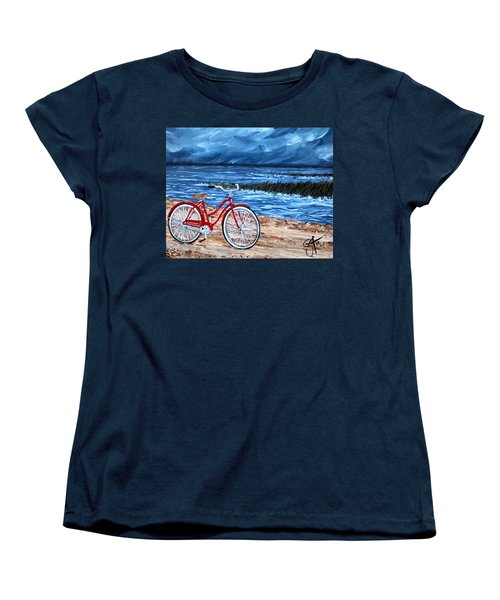 Women's T-Shirt (Standard Cut) featuring the painting Watching The Storm by Jackie Carpenter