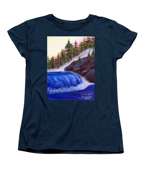 Women's T-Shirt (Standard Cut) featuring the painting Water Fall By Rocks by Brenda Brown