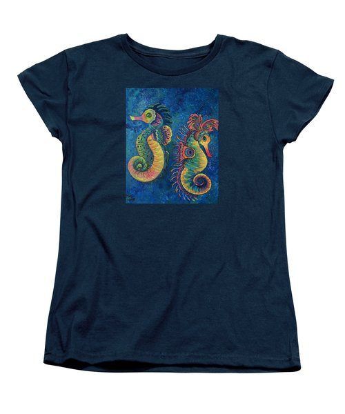 Women's T-Shirt (Standard Cut) featuring the painting Water Horses by Megan Walsh