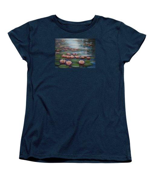 Women's T-Shirt (Standard Cut) featuring the painting Water Lilies In Monet Garden by Laila Awad Jamaleldin