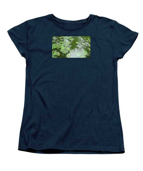 Women's T-Shirt (Standard Cut) featuring the photograph Water Lily Leaves And Palm Trees by Nora Boghossian