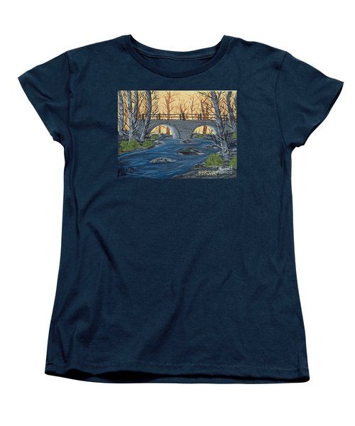 Women's T-Shirt (Standard Cut) featuring the painting Water Under The Bridge by Brenda Brown