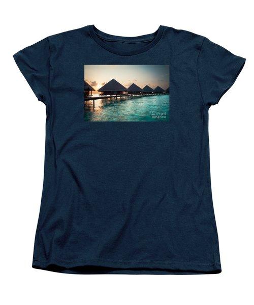 Waterbungalows At Sunset Women's T-Shirt (Standard Cut) by Hannes Cmarits