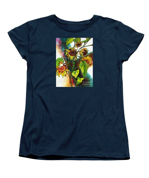 Women's T-Shirt (Standard Cut) featuring the painting Sunflowers On The Rise by Kathy Braud