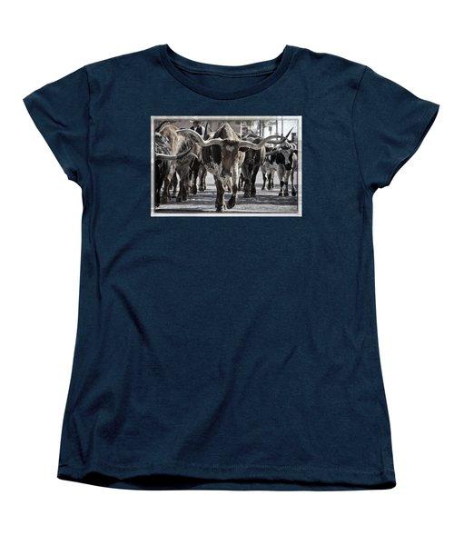 Watercolor Longhorns Women's T-Shirt (Standard Cut) by Joan Carroll