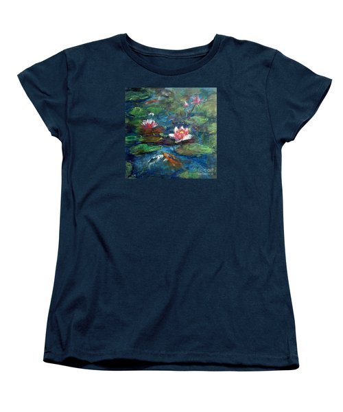 Women's T-Shirt (Standard Cut) featuring the painting Waterlily In Water by Jieming Wang