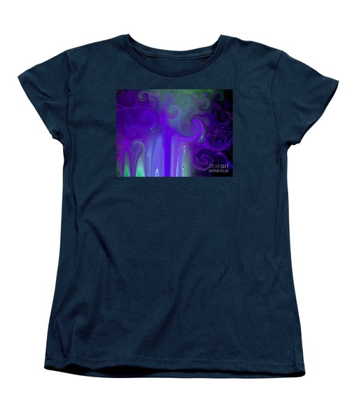 Women's T-Shirt (Standard Cut) featuring the photograph Waves Of Violet - Abstract by Susan Carella